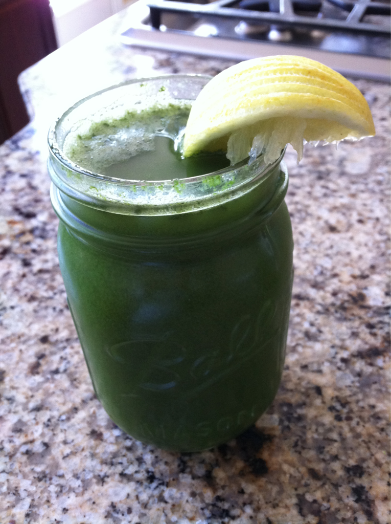 """21 Day Juice Detox - Day 2 Glorious Super Green Juice is what is on the menu today. I used the ingredients from the video I posted earlier today. Here is a picture of the juices I am drinking in a 16oz ball jar. I store them this way because it makes it so convenient to grab through out the day. I love this stuff! Talk about energy. It goes straight through my body and gives me everything I need. I drink about 64oz of this stuff per day, a nut milk smoothie around dinner time, plus about 3 tablespoons of coconut oil. It's important to make sure you keep your body moving too. Just because you are fasting doesn't mean you are so weak that you don't have the energy to do stuff. If you are too weak on a detox, cleanse, or diet it means your body is not getting what it needs from your program. Today was such a beautiful day I had to go for a run. I did a short run (about 2.5 miles) because I also wanted to take in a Bikram Yoga class today. Bikram Yoga is great while cleansing because you get to sweat out all those toxins in your body while strengthening and stretching your body and mind. The class really feels like what Bikram calls """"a moving meditation."""""""