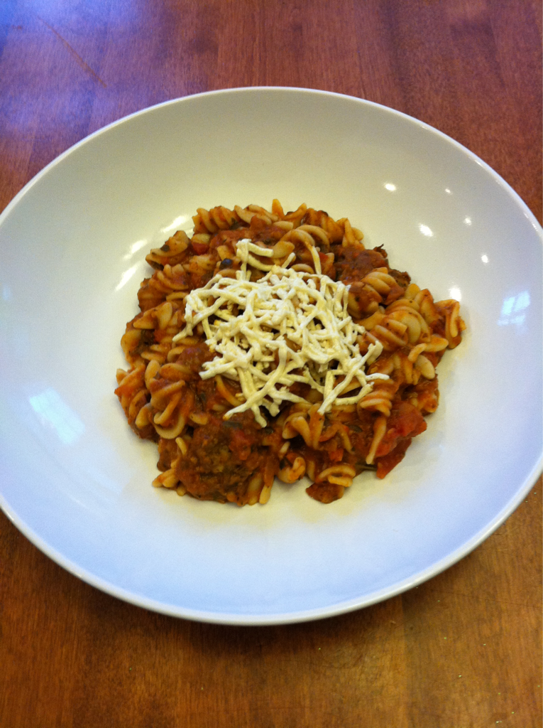 Gluten Free Vegan Pasta Bolognese I used the left over Lentil Balls to make a nice Vegan Bolognese Sauce and tossed it with some Gluten Free Spiral Pasta. This vegan sauce has similar texture to the original meat based Bolognese Sauces and the taste is spot on.