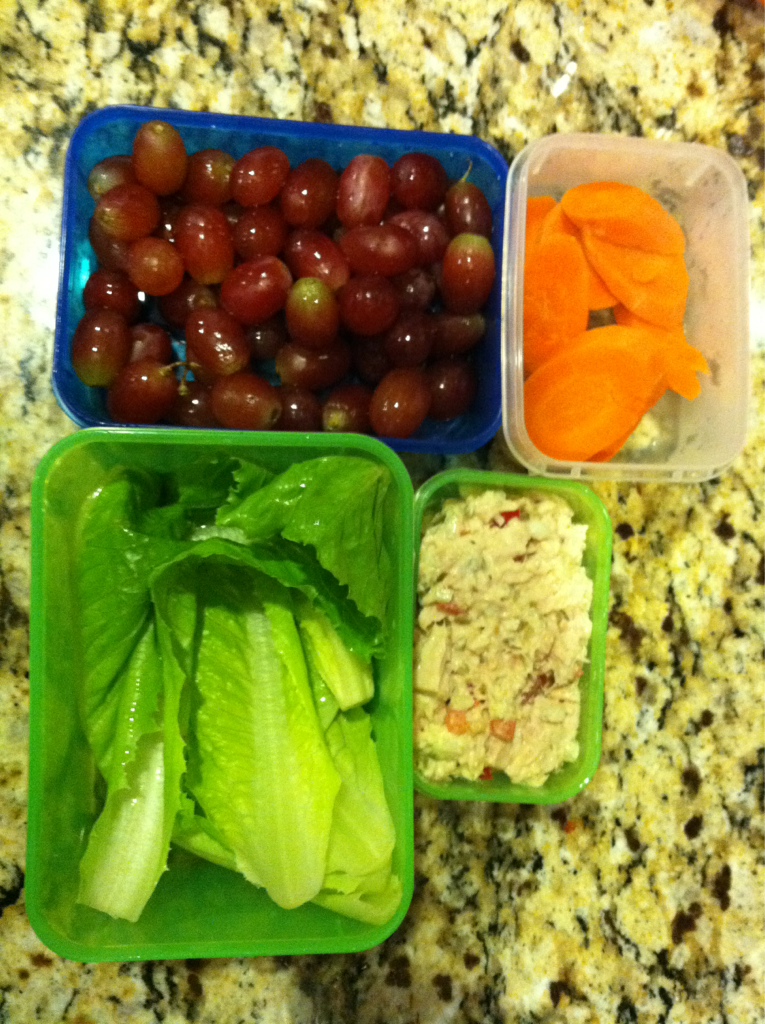 """What's for lunch? Today for my kids lunch we have grapes, lightly steamed carrots, tuna salad, and romaine leaves. My kids love wrapping the tuna salad in the romaine leaves and making lettuce wraps. They like putting it together themselves and the crunch. I love the fact they are getting """"A Salad, But Not."""""""