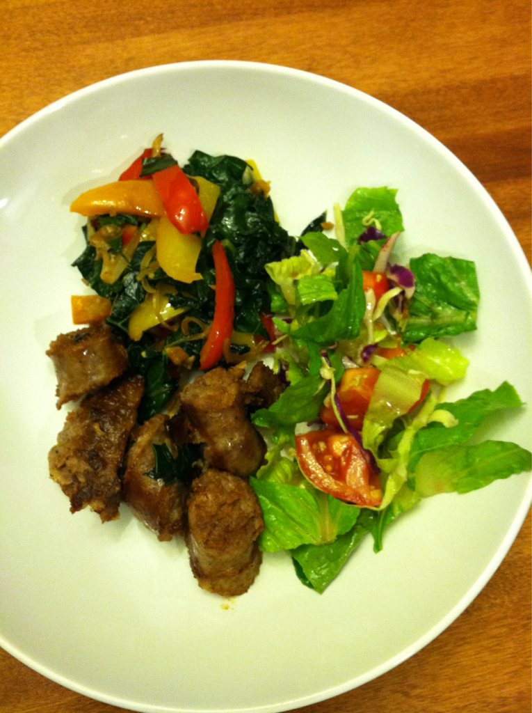 Dinner in under 15 Minutes Tonight's dinner is pan seared organic farm fresh pork bratwurst, with garlic sautéed kale and peppers, and mixed salad with blueberry dressing. Sometimes I am in a serious rush to get dinner on the table. Tonight I am getting our family packed for our trip to check out the beautiful city of Boulder, Colorado. Packing for a family of four can be a big time sucker and I want to go to bed at a decent hour. That way I can do nothing but relax before we leave tomorrow afternoon. This dinner took me just 15 minutes to prep, cook, and serve. I love all the color and the fact that my family will be eating well tonight.