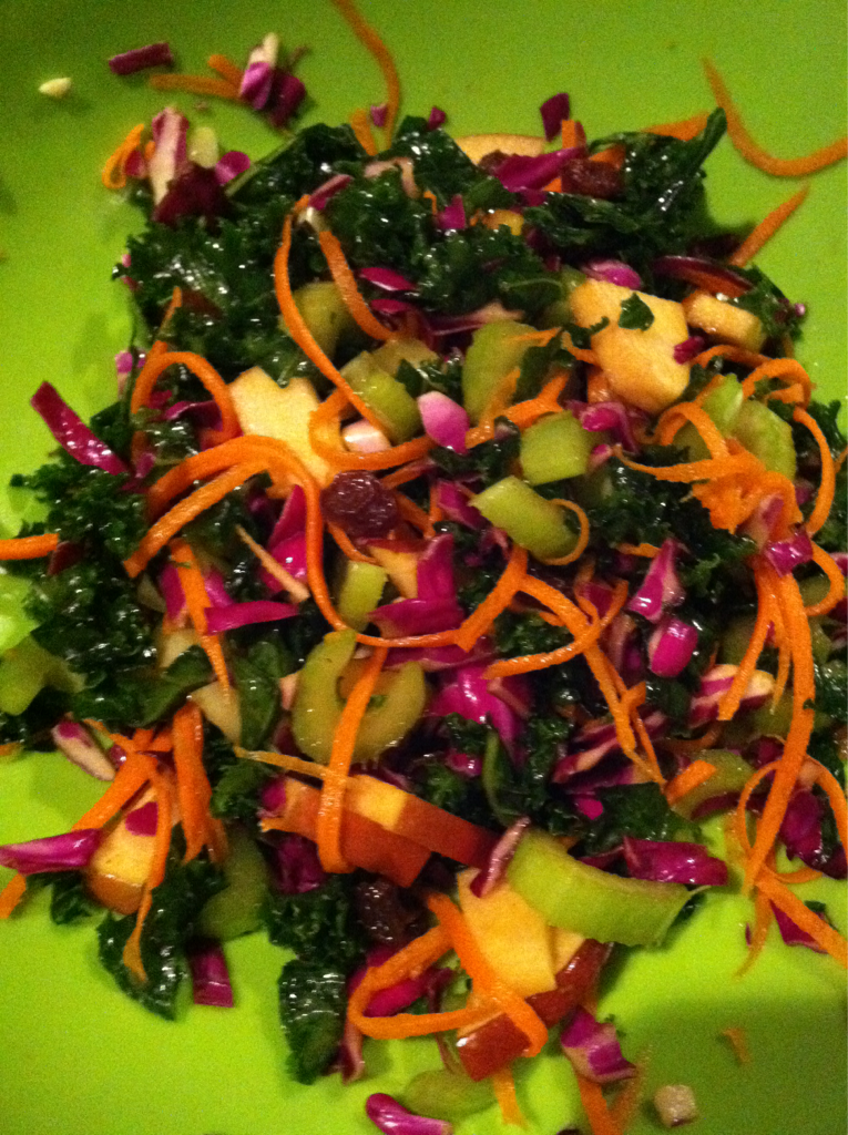 Apple Kale Salad I made this simple salad tonight and am loving it. So satisfying and tasty. Plus salads that are more hearty just satisfy me much when weather outside is a bit colder. Kale, cut into thin strips Purple cabbage, shredded Salt Olive oil Carrots, cut into thin strips Celery, sliced Apple, chopped Raisins Coat kale with olive oil and salt. Let sit till kale become wilted. Add all the ingredients and toss. Add more salt to taste if needed.
