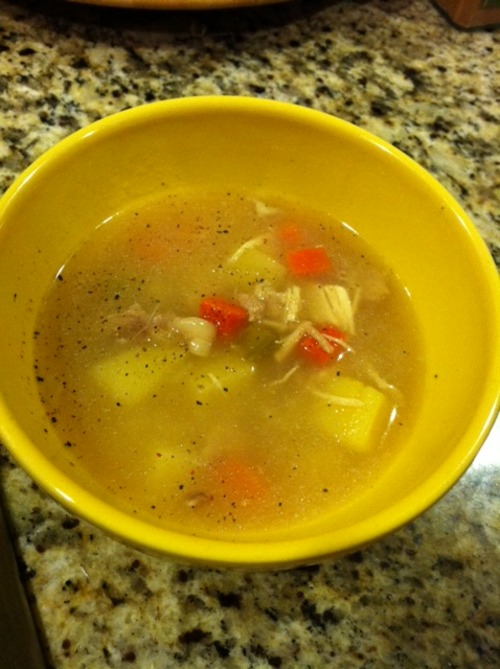 Baby It'a Cold Outside Since we are decorating our Christmas Tree this evening we are a bit busy. So last night I made some yummy chicken and veggie soup to enjoy tonight. Eating soup makes the whole family so happy and warm. Chicken soup is so simple to make and satisfying. It doesn't take much prep just time for the stock to develop. 1 whole organic chicken 2 large carrots peeled and cut in half 4 large celery stalks cut in half 1 onion peeled and cut in half 2 potatoes peeled and cut in half 1/2 garlic bulb Place everything in a stock pot. Then add enough water to cover all the ingredients. Bring to boil then simmer for 1 hour. Then remove enough meat from the chicken to add to the finished soup. About 3 cups worth of meat is good. I use a combination of the dark and light meat and set aside. Then continue to summer for another 2 hours. Strain out the broth and discard the chicken and veggies. You should end up with a stock that is a cloudy pale yellow. Now place the chicken and veggie stock back to the stock pot. To it add the following. 1 carrots, peeled and chopped 1 onion, peeled and chopped 4 ribs celery, chopped 2 potatoes, peeled and chopped Bring to a strong simmer for about 15 minutes. Meanwhile chop the chicken meat you previously set aside. Add it to the soup and simmer for 5 more minute. Add salt and pepper to taste. If you desire you can also add some cooked rice or noodles.