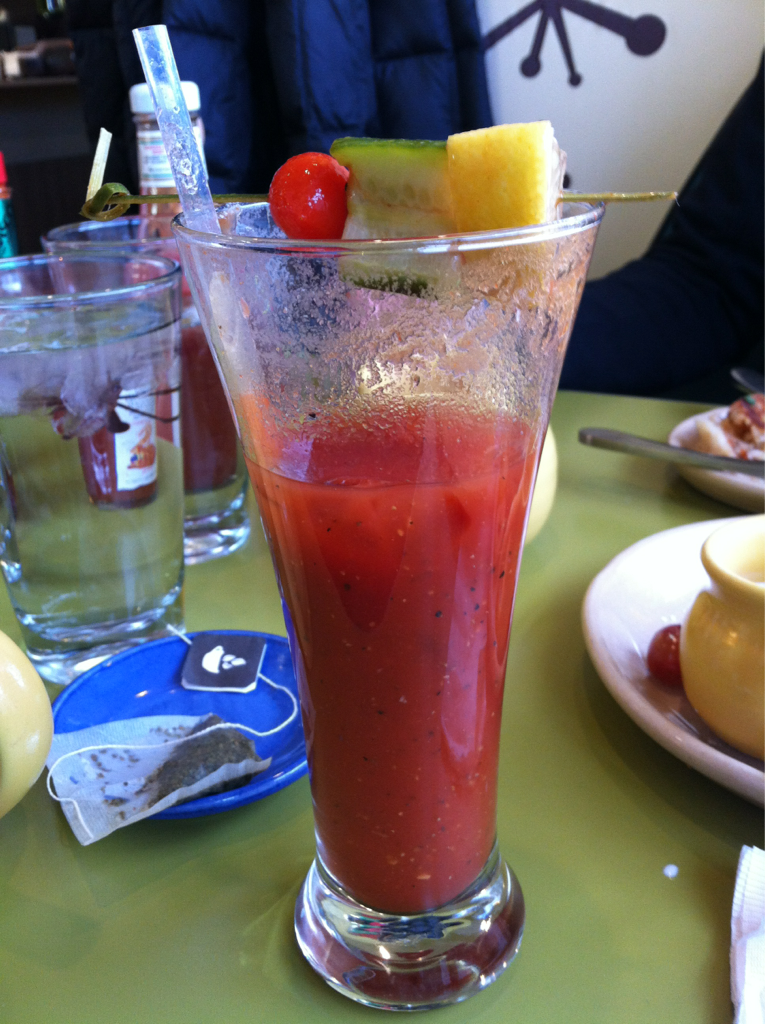 Here was my main breakfast at Snooze. This is their Virgin Mary. It's refreshing, spicy and totally tasty. It's the perfect thing to heat me up to handle the cold Boulder weather.