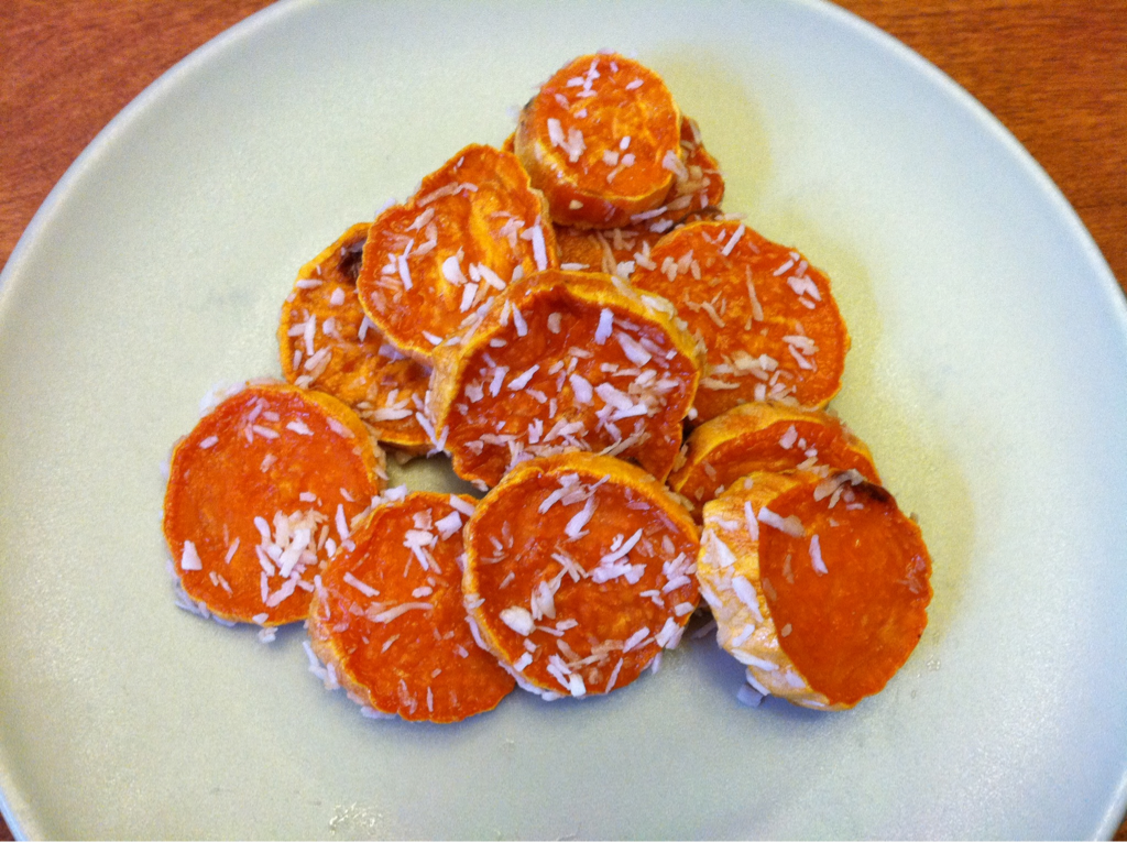 Sweet Potato Coconut Cookies Here is a great afternoon treat for my kids after school today. It's a little something I learned from Chef Doris Choi over the weekend. Simply cut sweet potatoes into disks and roast. Then toss with a tiny bit if maple syrup and coat with coconut shreds. They are sweet and give you the feeling of eating chewy cookie goodness without any of the guilt.