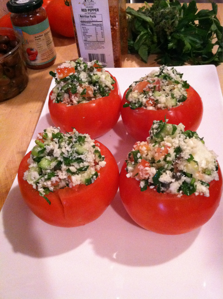 Tomatoes stuffed with Cauliflower Couscous.