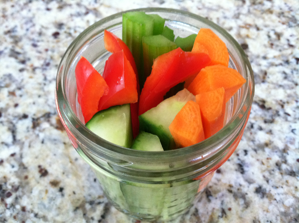 Super Snack for Super Kids A great after school snack for kids (or anyone for that matter) are these veggies sticks served in a little mason jar. Here I have carrots, cucumber, celery, and red peppers. They are a fresh and crisp finger food that are tasty and easy to eat. You can cut a bunch of veggies ahead of time and put them in mason jars making them a great grab and go snack anytime.