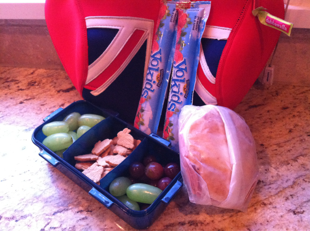Today's Lunch Grapes, bunny graham crackers, organic uncured beef bologna on pita, yogurt sticks
