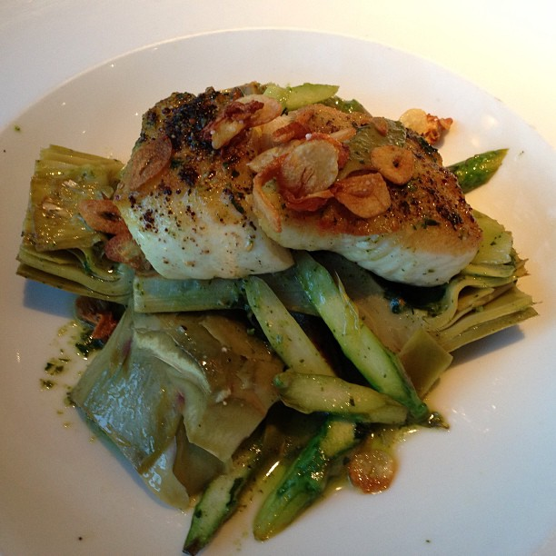 My dinner @ Riffs. Pan-Roasted Alaskan Halibut with roasted Artichoke, Asparagus with Spinach & Basil Pesto.