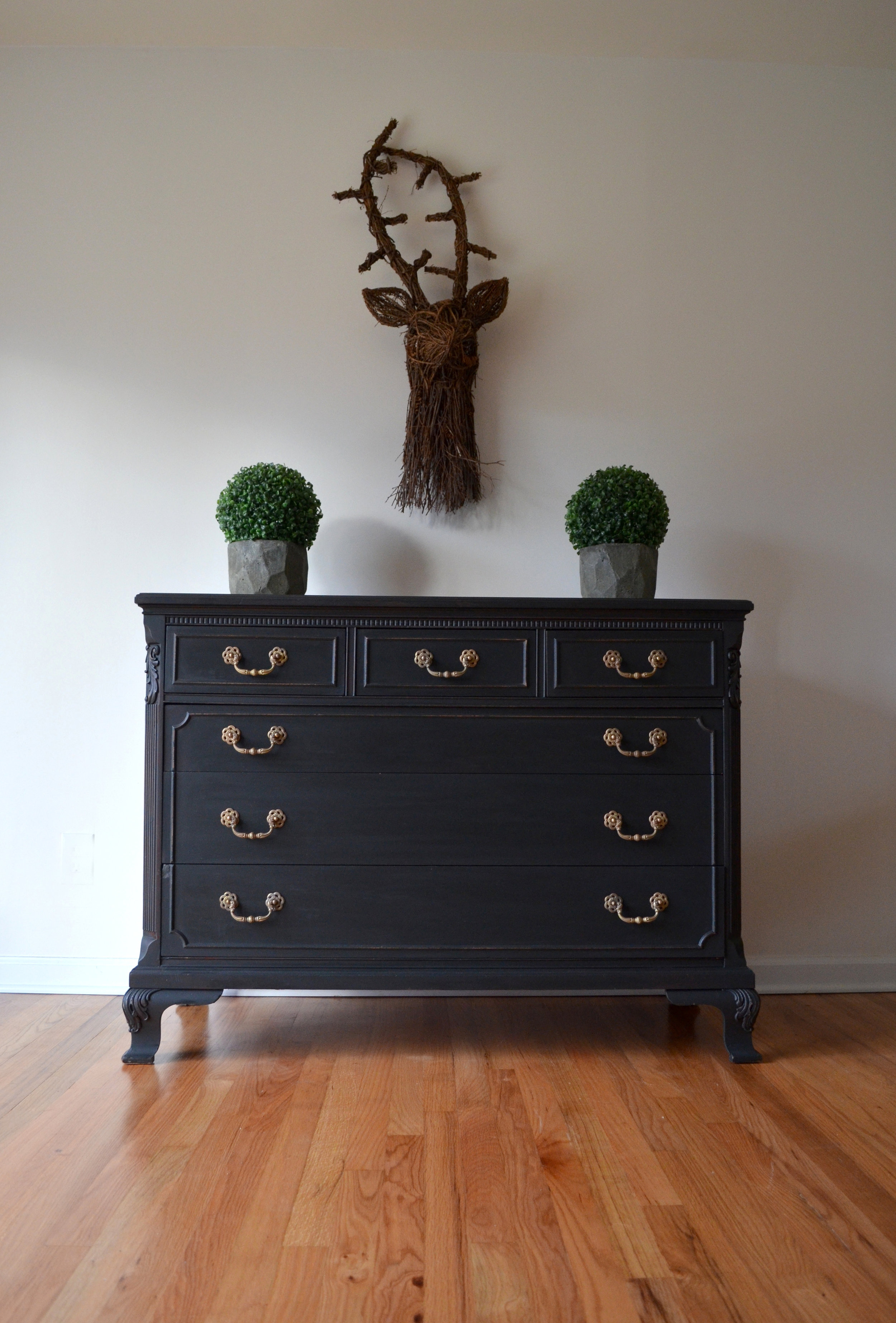black matte painted dresser 1