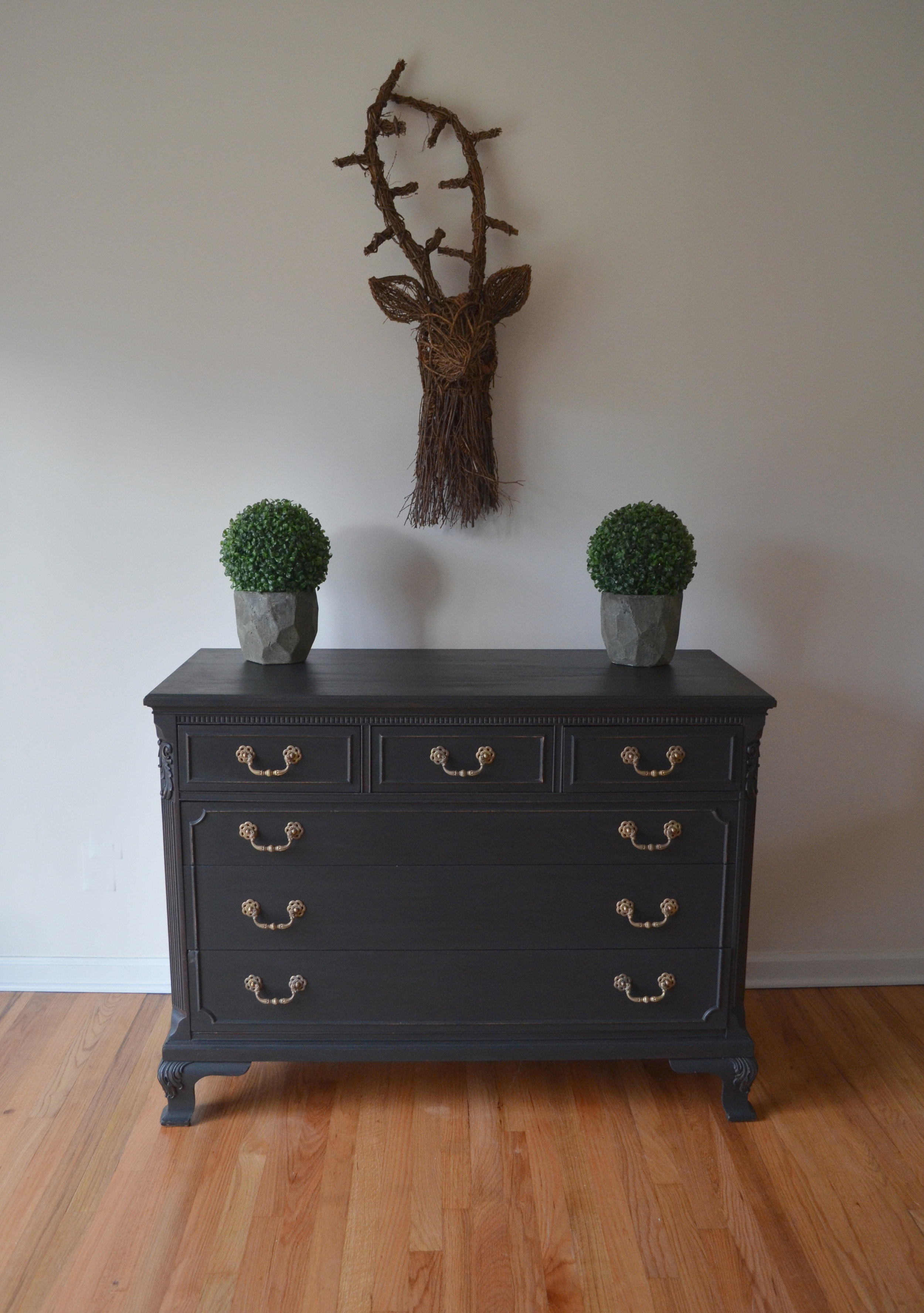 black matte painted dresser 2