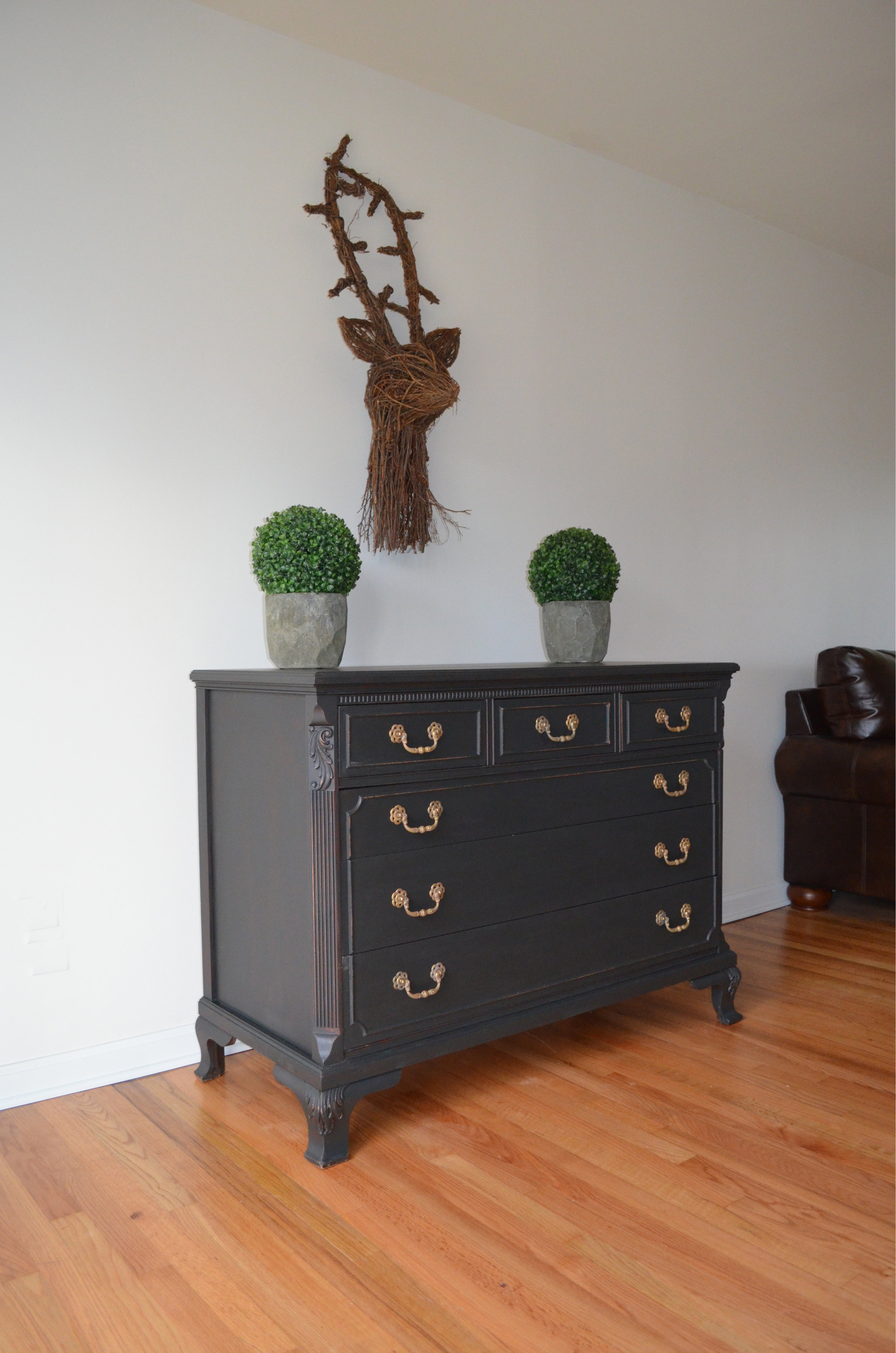 black matte painted dresser 3
