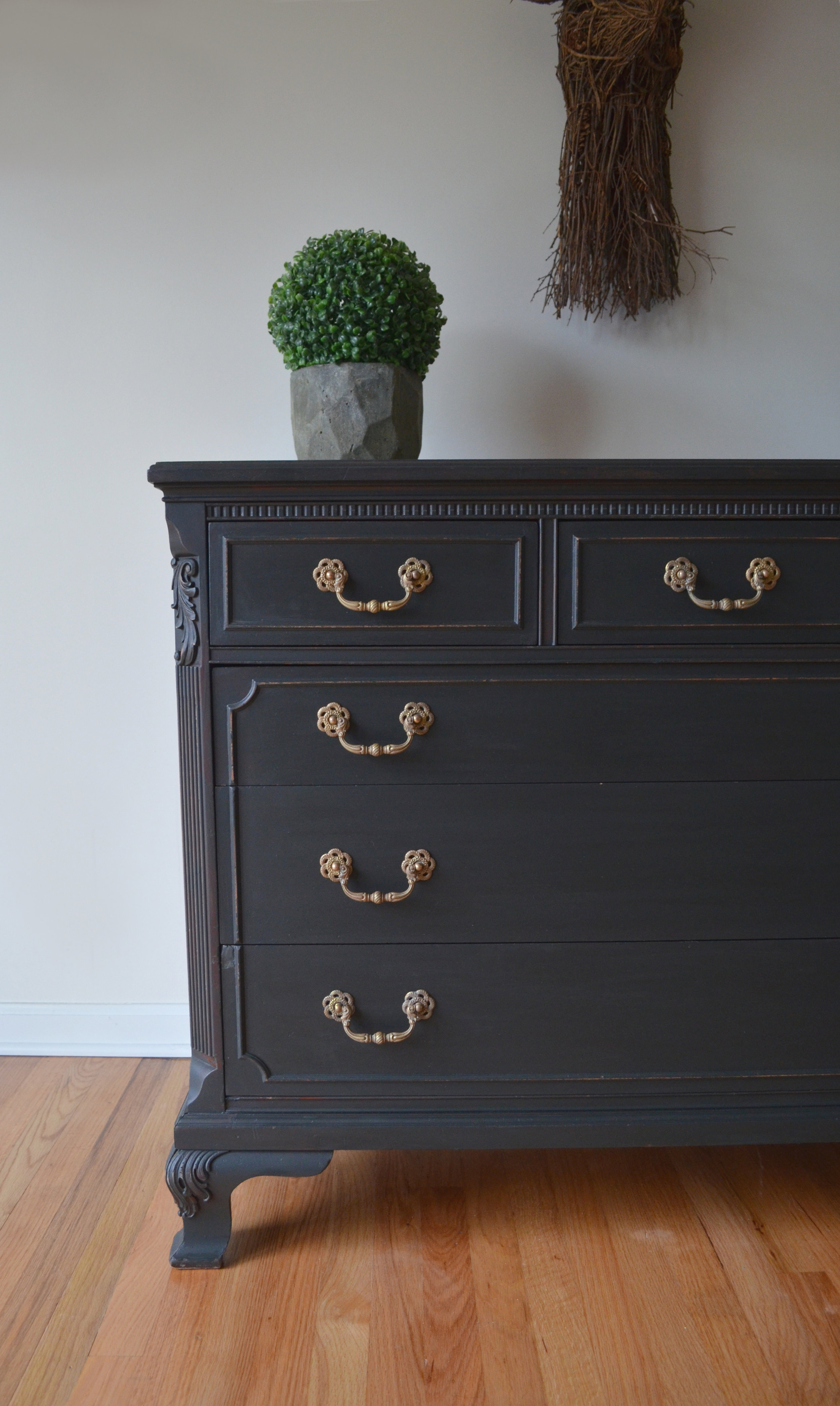 black matte painted dresser 4