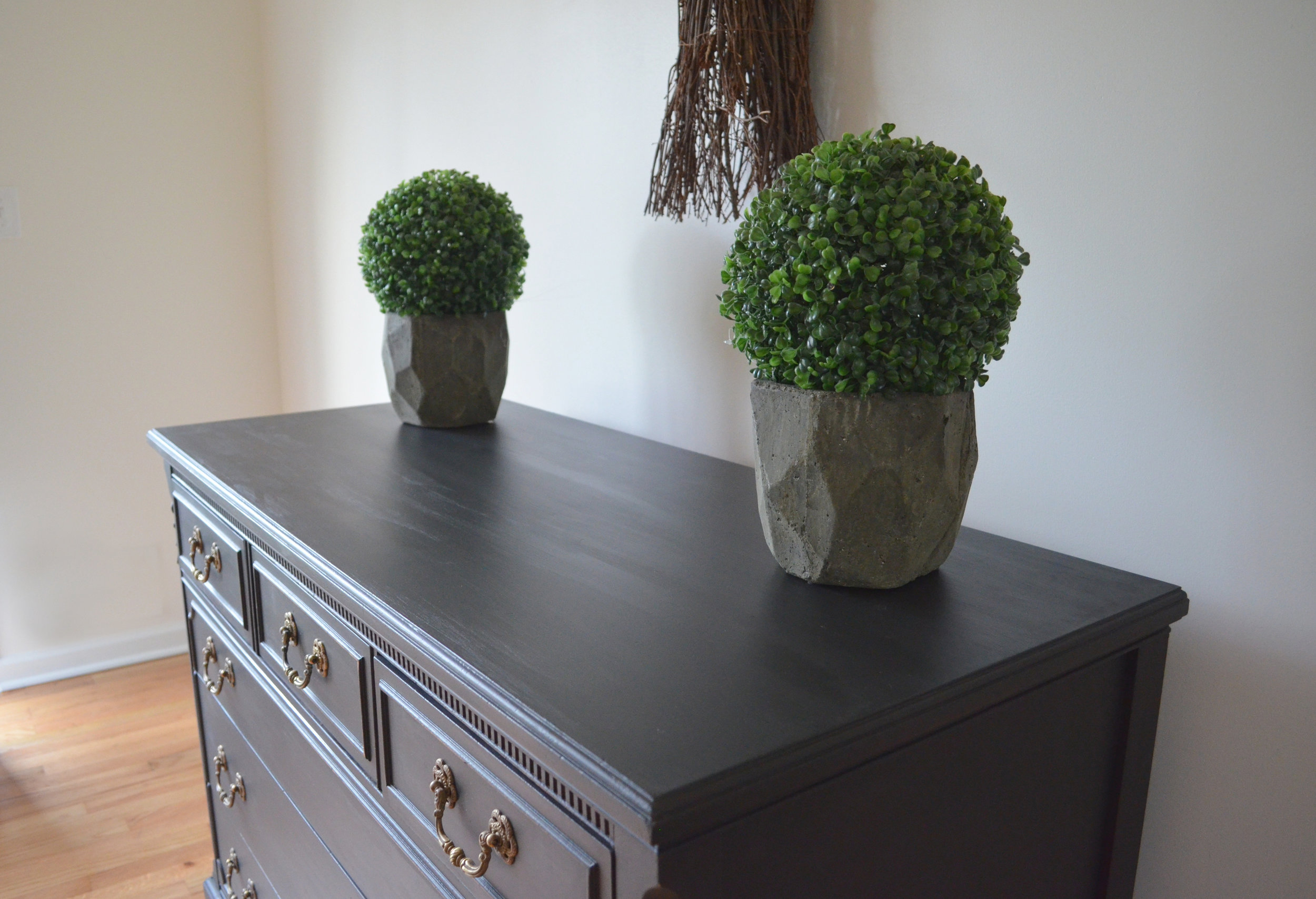 black matte painted dresser 5