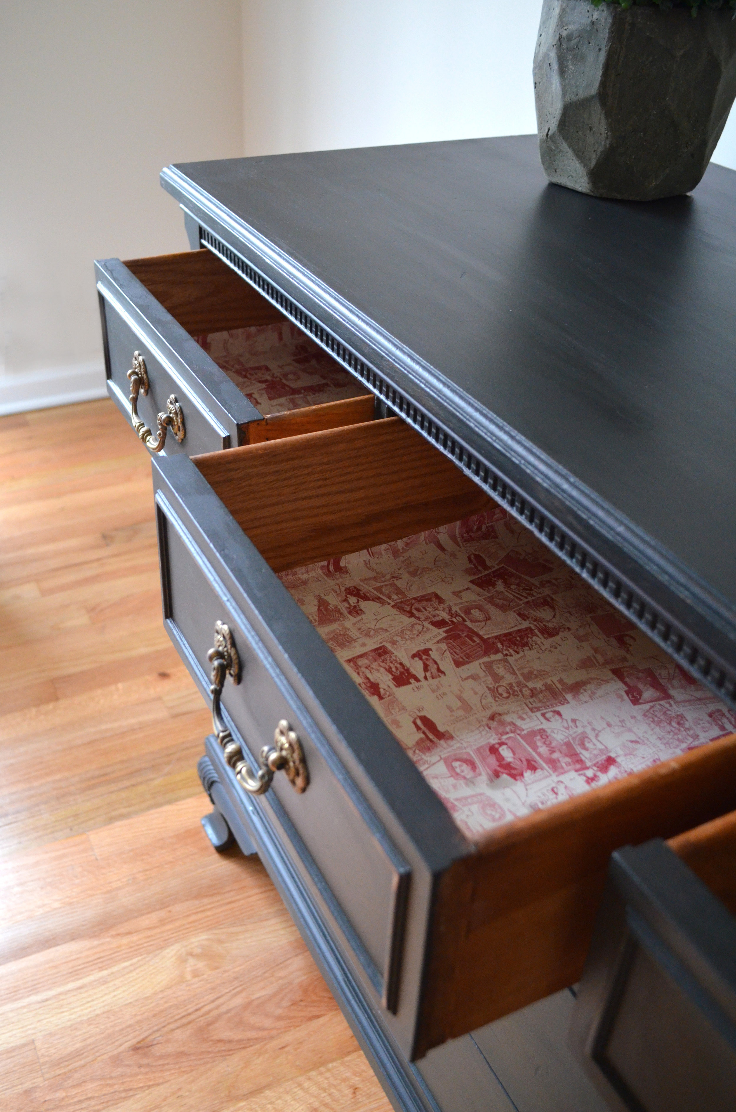 black matte painted dresser 6
