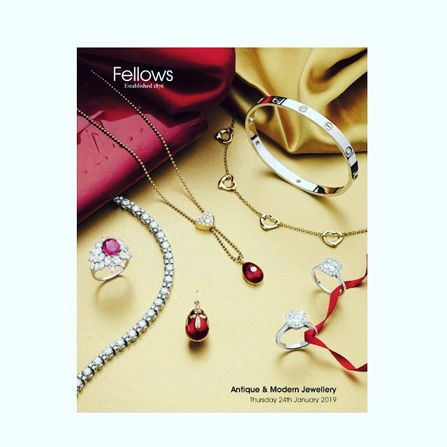 Fellow's Antique & Modern Jewellery Sale tomorrow at 11am www.fellows.co.uk @fellowsauctions The Jewellerian's pick of the pieces on Instastories and Highlights #jewellery #finejewellery #diamonds #auction #fellowsauctions