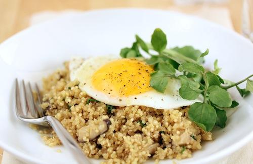 Mushroom & Walnut Quinoa with a Fried Egg