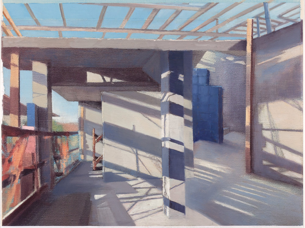 Study for 163rd St,  2018 oil on paper, 12 x 18 in