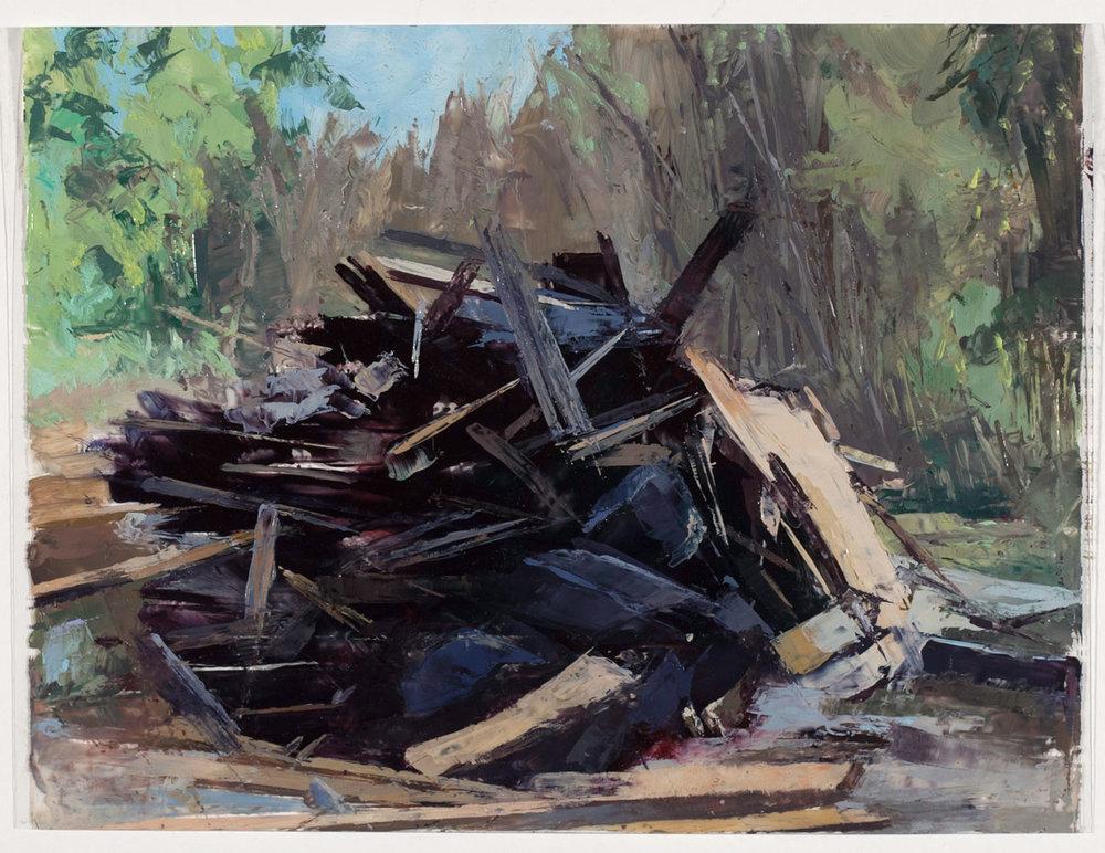 Neighbors: 6128 N. Miro Study, oil on dur-lar, 6 x 8 in
