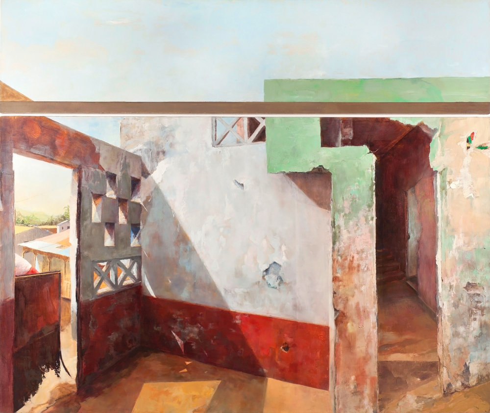 Naima Exits,  2011 oil on linen, 76 x 88 in