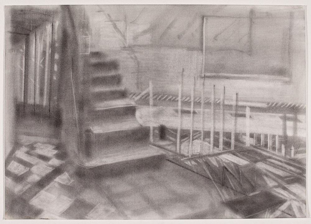 Léhon to Kottbusser Tor,  2013 Graphite powder on paper, 14 x 20 in