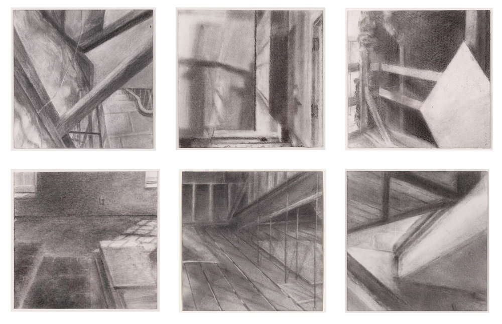 Feigenbaum Building Studies,  2016 graphite powder on paper, 4 x 4 in each