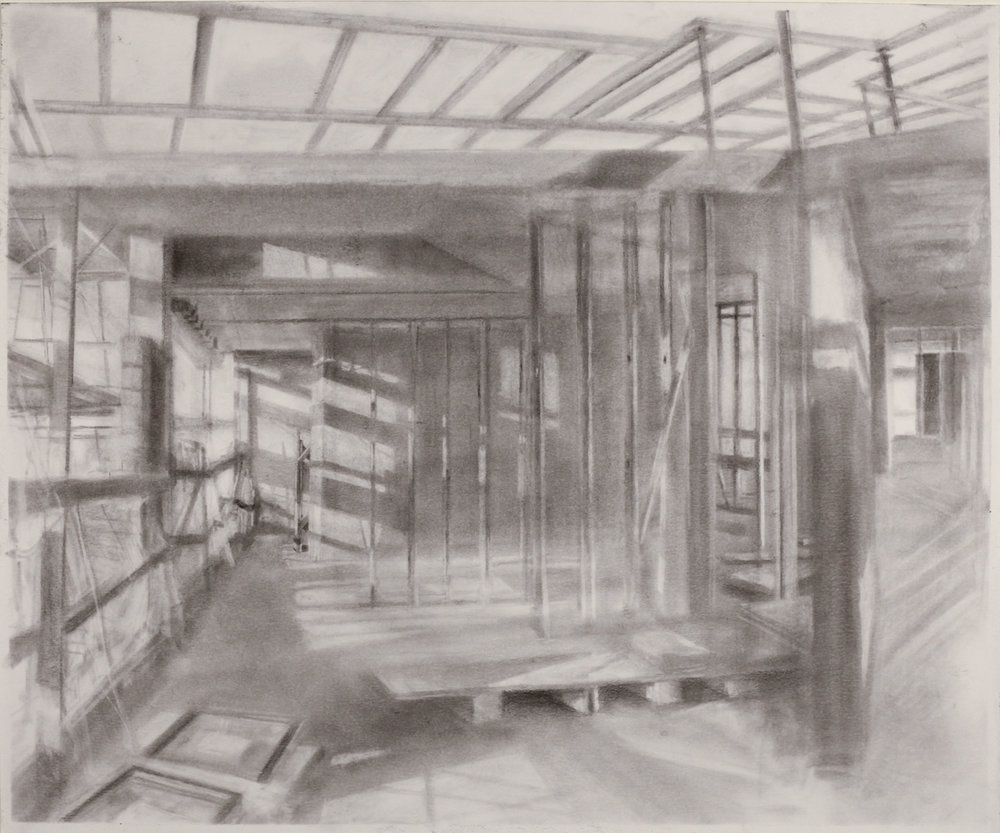 Study for Mural at The Delson,  2018 graphite powder on paper, 18 x 20 in