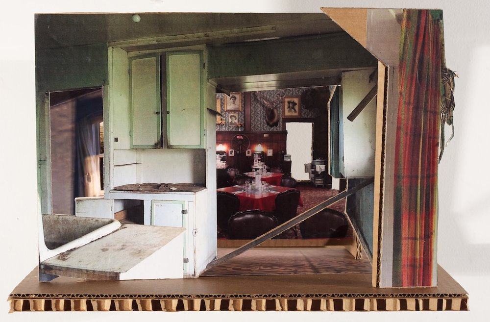 Ulm 2 (Irma's Dining Room) , 2015 collage & on cardboard, 12 x 18 x 10 in