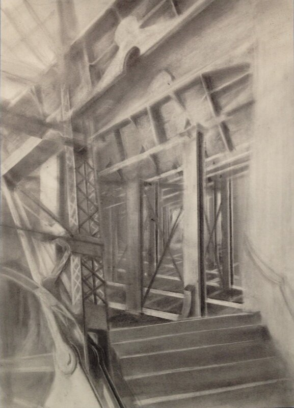 Queensboro Seine 2,  2014 graphite powder on paper, 36 x 22 in
