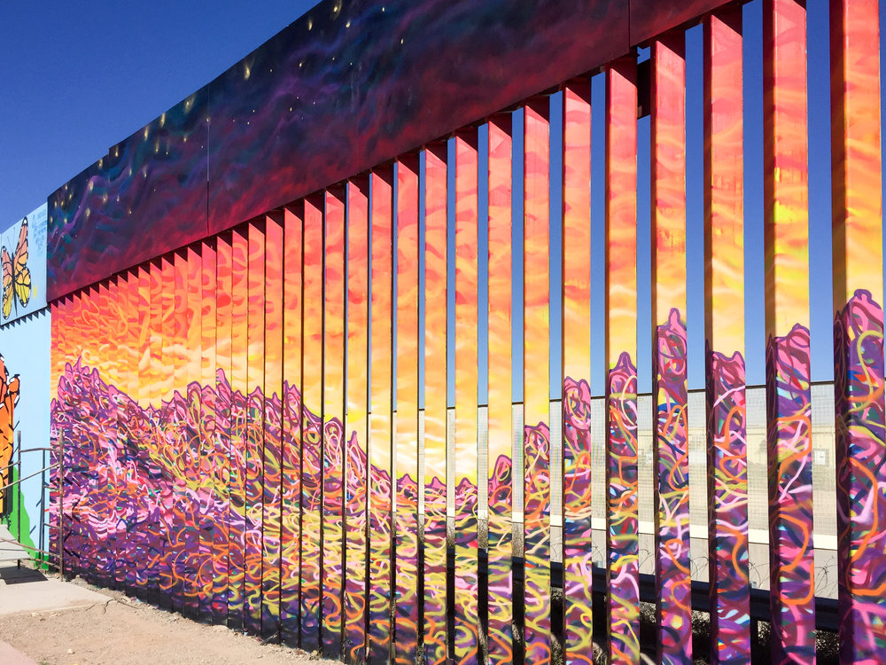 Mural covering the wall between Douglas and Agua Prieta. (Photo by Aaron Bobrow-Strain)