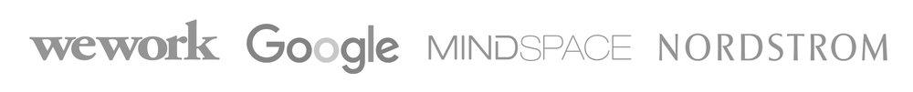 we work, google, MindSpace, Nordstrom logos