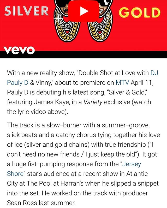 Nice write up from @variety on Silver & Gold w/ @djpaulyd !!! Big s/o @seanrossprod & @tonygnyc for making it happen  and @vydiaofficial for the look.  Also thank you @glittergirlko & @akrpr for the big 🔌🔌🔌. I appreciate everyone listening and sharing the song so far y'all are the real MVP's 🙏🙏🙏... This record is just get started !!! 👀💣🚀🥈🥇🥈🥇.. . . #jameskaye #silverandgold #djpaulyd #variety #newmusic #doubleshotatlove #mtv #draisnightclub #timesquare