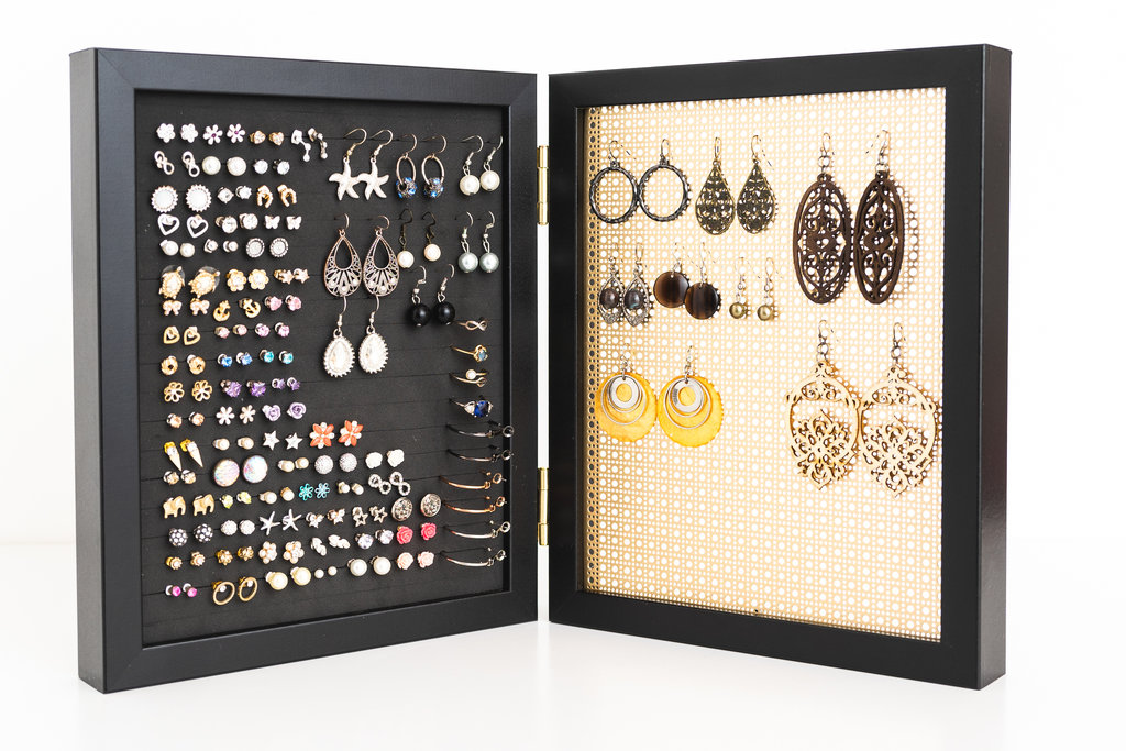 191c6c70aa04e Earring Organizer - 8x10 Black Frames - Hook & Stud Earring Holder - Gold  Metal Screen — Never Lost Earrings