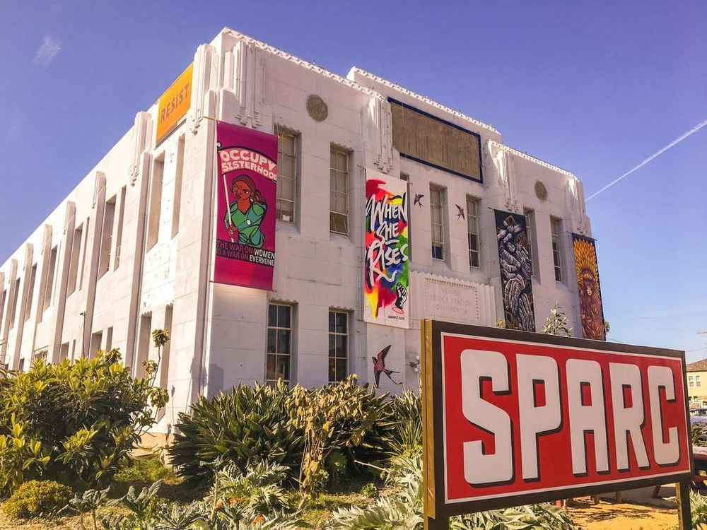 The Social and Public Art Resource Center's historic 1929 building (formerly the Venice Division of the LAPD)