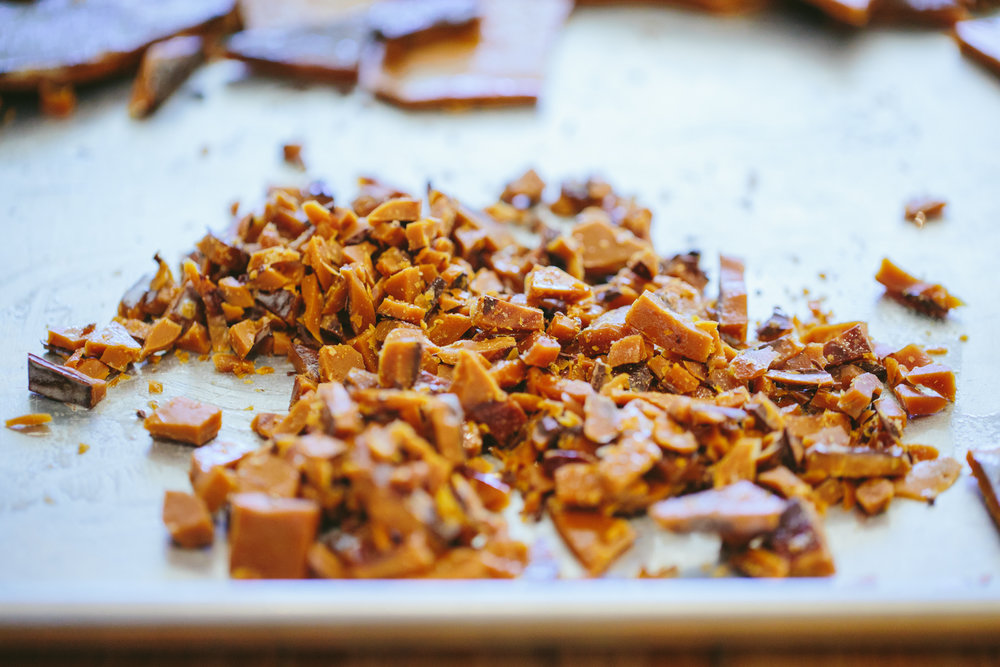 Photo: Handmade, chocolate almond toffee finished product, ready to be mixed into gelato.