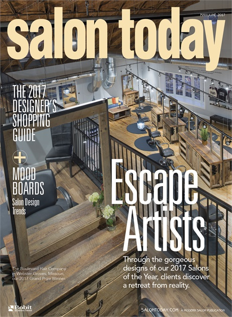 Cover of May 2017 issue of Salon Today Magazine featuring The Boulevard Hair Co.