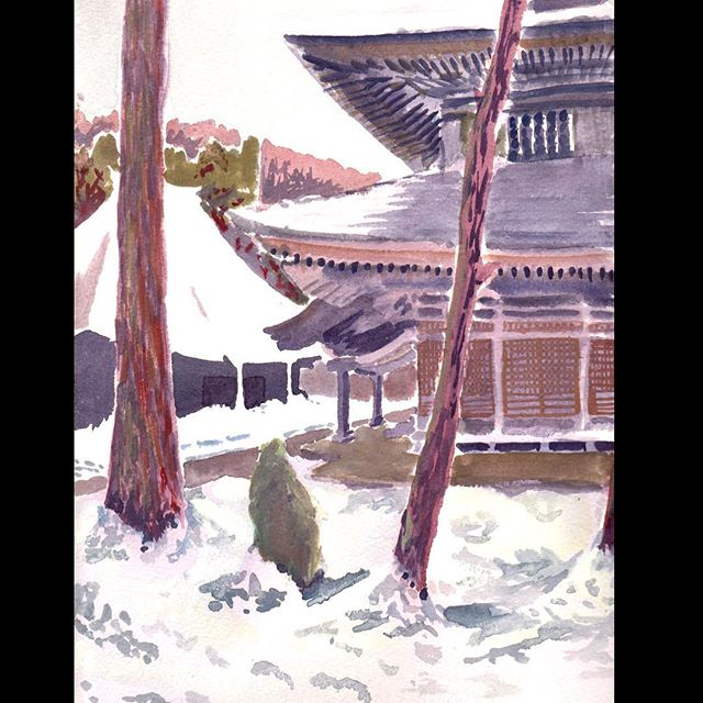 Gouache from 2010 travels in Japan⠀ ⠀ #Gourche #travelpainting #travelsketch #temple #japanesetemple #Landscapepainting #snowpainting #paintingsnow #instagood