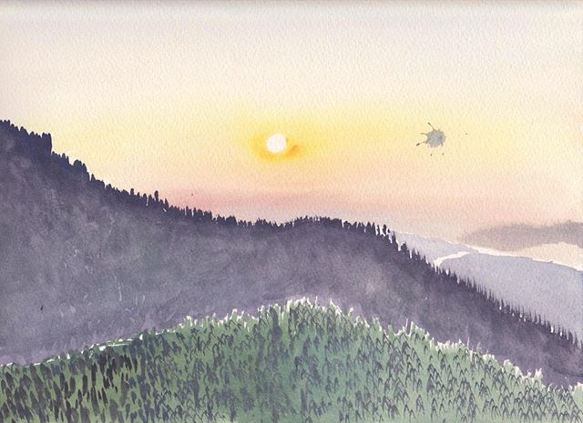 Gouache from 2010 travels in Japan  #Gourche #travelpainting #travelsketch #Landscapepainting #sunrise #niko #instagood