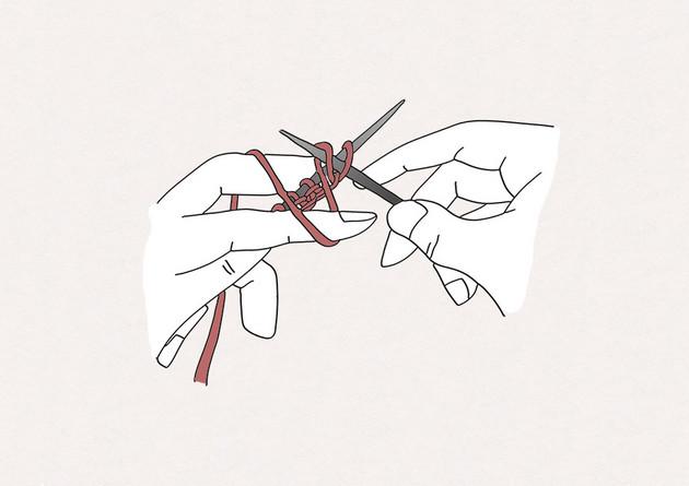 3/ Enroulez le fil de la pelle par-dessus, puis en dessous de l'aiguille droite