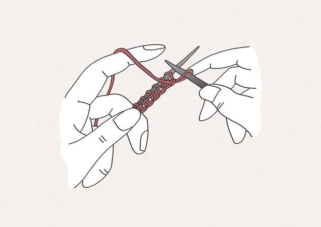 5/ Laisser glisser la nouvelle maille sur l'aiguille droite ; vous obtenez ainsi une maille envers