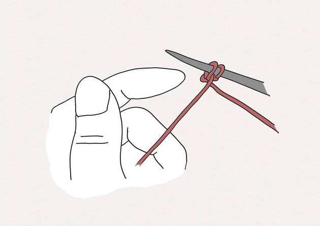 5. Enlevez alors votre pouce et tirez sur le fil tenu par la main gauche pour resserrer la maille. Poursuivez de la même façon pour monter les mailles suivantes.