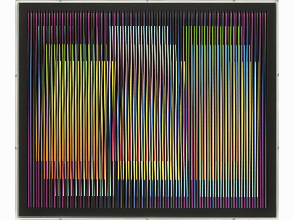 Carlos Cruz-Diez   Chromointerférence  | 2010 | silk-screen printing on plastic sheets | 50 x 60 cm.