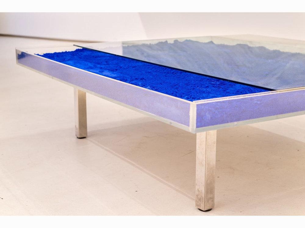 Yves Klein   Table bleu |  1961 | plexiglass, IKB pigment, chromed metal, wood 100 cm x 125 cm x 38 cm.