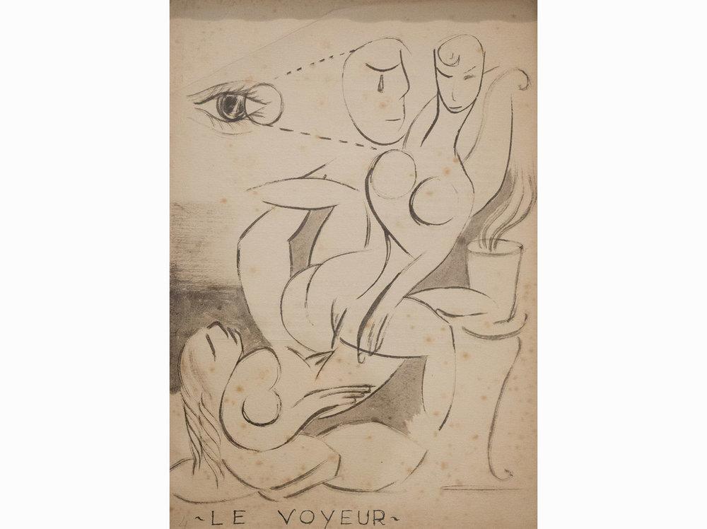 Le voyeur |  c. 1920 | ink on paper | 28,75 x 20,25 cm.