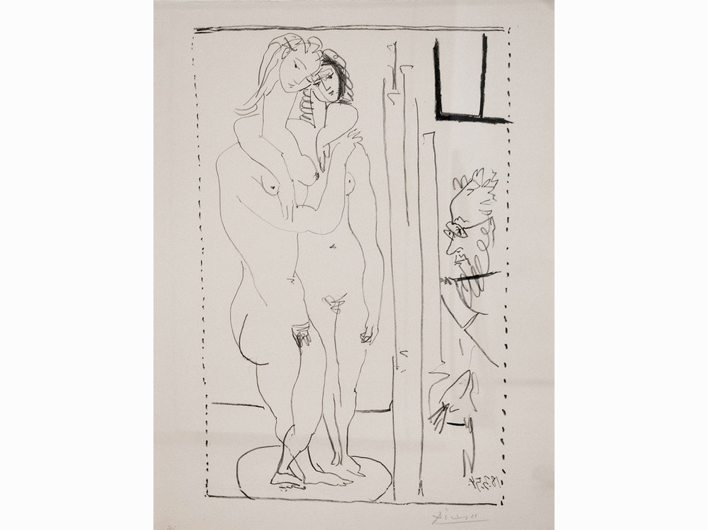 Pablo Picasso      Les deux modeles nudes |  1954 | litograph | 65 x 50 cm.