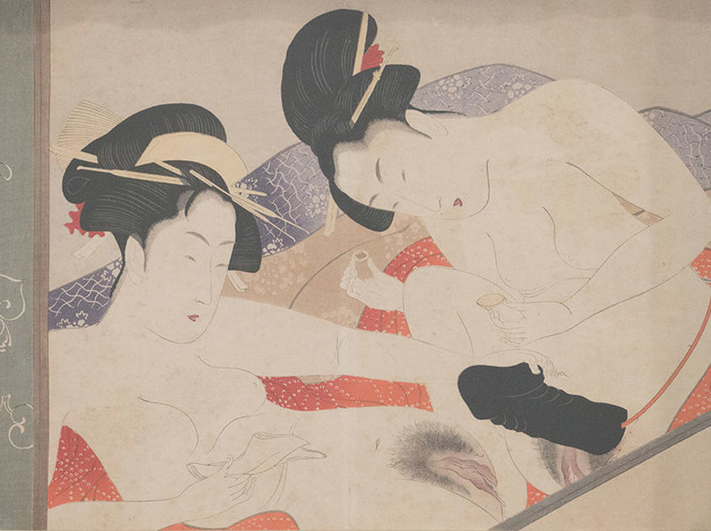 Chokyosai Eiri   Women using a Dildo |  1801 | xilograph | 24 x 33 cm.