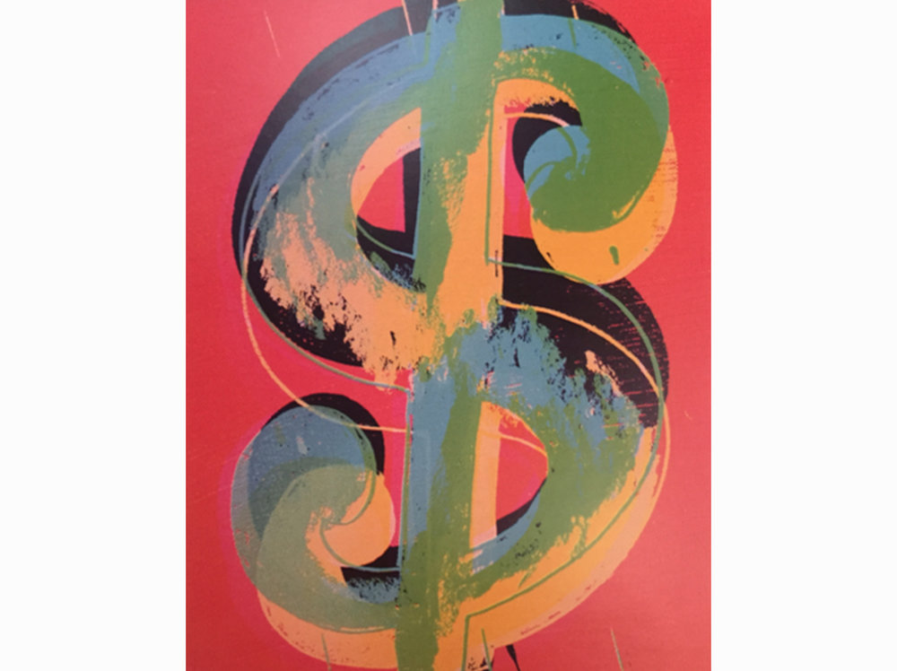 Andy Warhol      Dollar Sign        1982   mixed tecnique on canvas   25 x 20 cm.