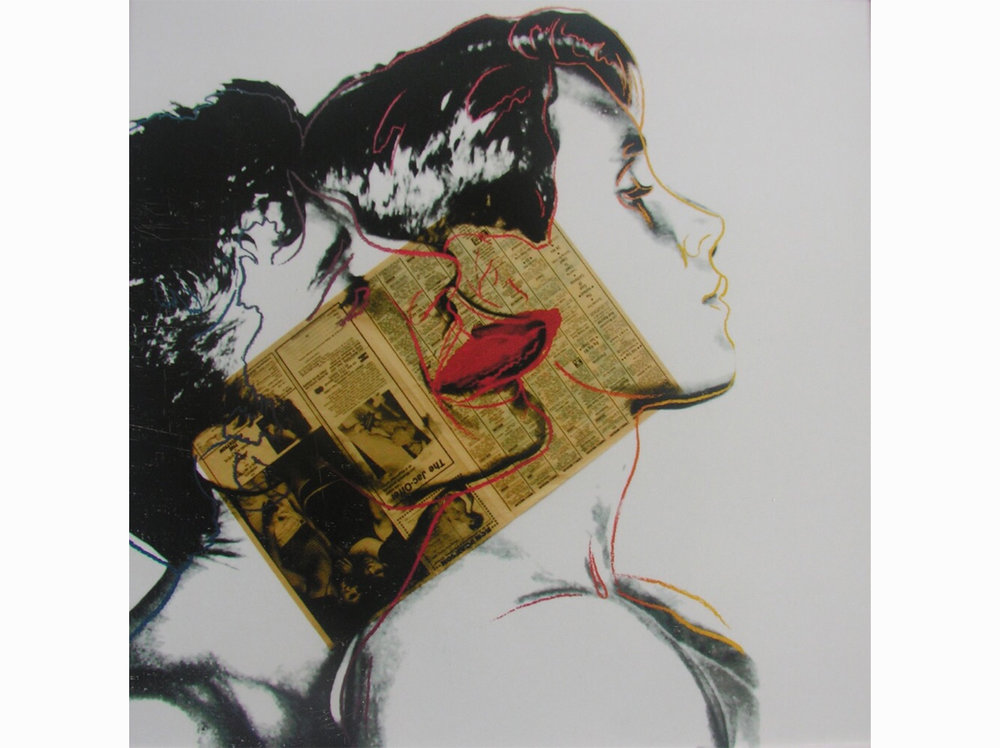 Andy Warhol      Querelle        1982   acrylic ink and newspaper collage on lenox museum cardboard 100 x 100 cm.