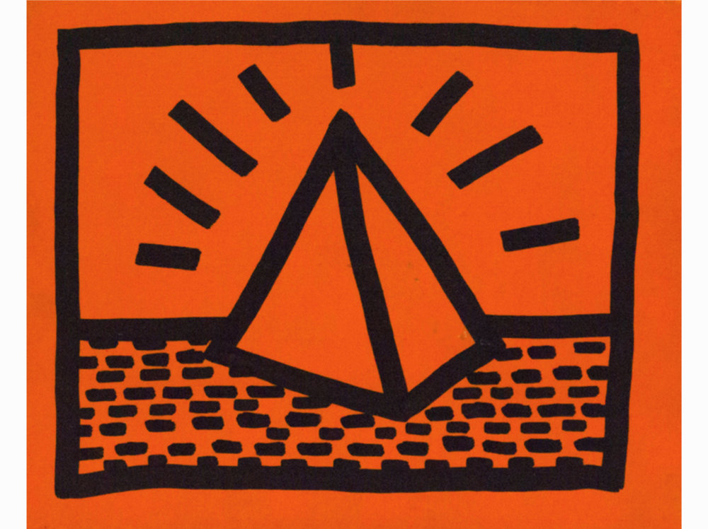 Keith Haring      Untitled    1982   fluorescent paint and black marker on wood   22,35 x 17,27 cm.