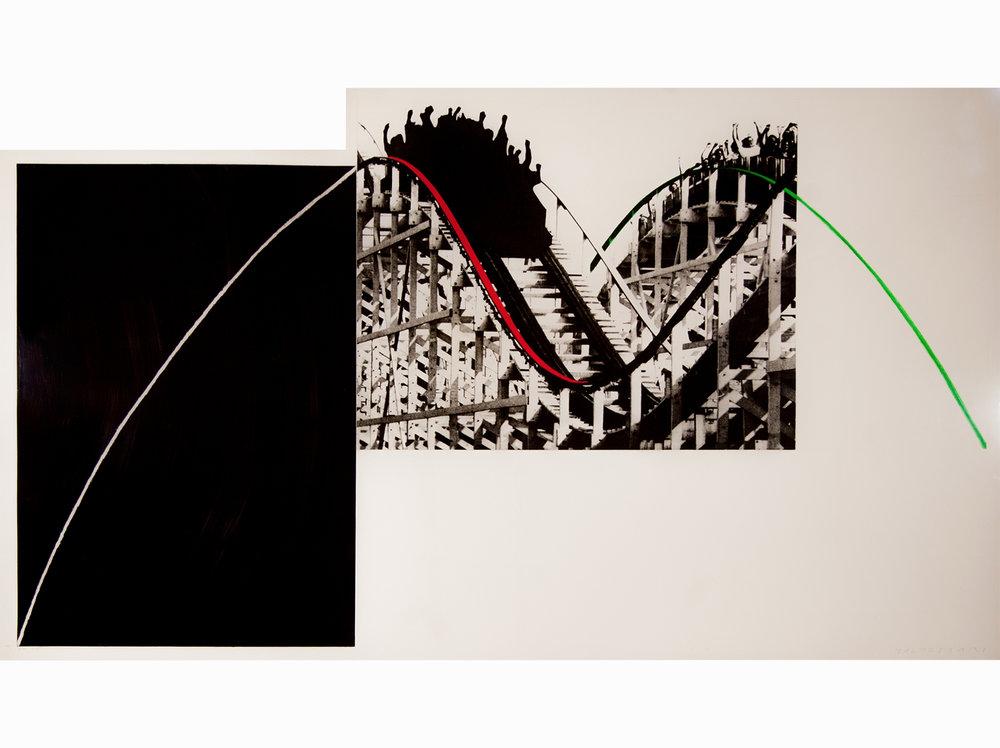 John Baldessari      Rollercoaster    1989   photogravure with watercolor ink printed on paper Somerset Satin 410G   99 x 171,5 cm.