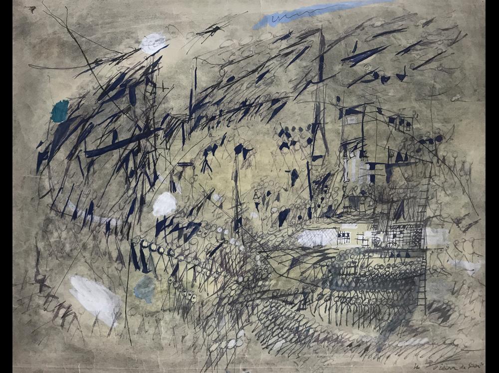 Maria Helena Vieira da Silva      Le Vent  | 1950 | gouache and pen on paper | 43,2 x 54,4 cm.